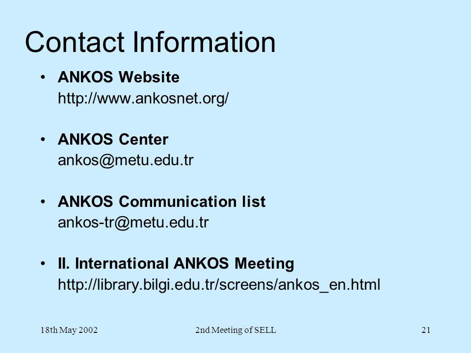 18th May 20022nd Meeting of SELL21 Contact Information ANKOS Website http://www.ankosnet.org/ ANKOS Center ankos@metu.edu.tr ANKOS Communication list