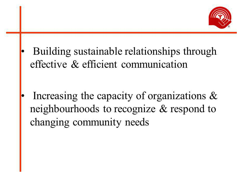 Building sustainable relationships through effective & efficient communication Increasing the capacity of organizations & neighbourhoods to recognize & respond to changing community needs