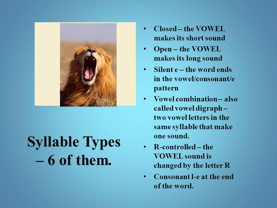 Syllable Types – 6 of them. Closed – the VOWEL makes its short sound Open – the VOWEL makes its long sound Silent e – the word ends in the vowel/conso