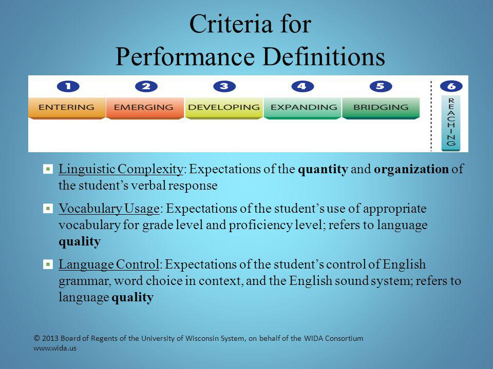 Criteria for Performance Definitions Linguistic Complexity: Expectations of the quantity and organization of the student's verbal response Vocabulary