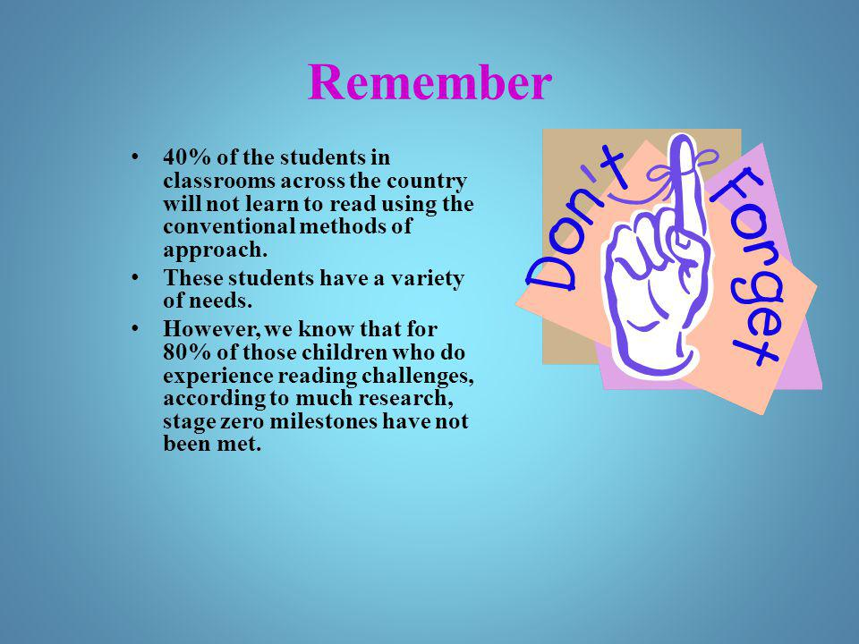 Remember 40% of the students in classrooms across the country will not learn to read using the conventional methods of approach. These students have a