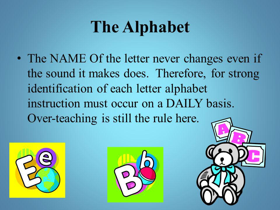 The Alphabet The NAME Of the letter never changes even if the sound it makes does. Therefore, for strong identification of each letter alphabet instru