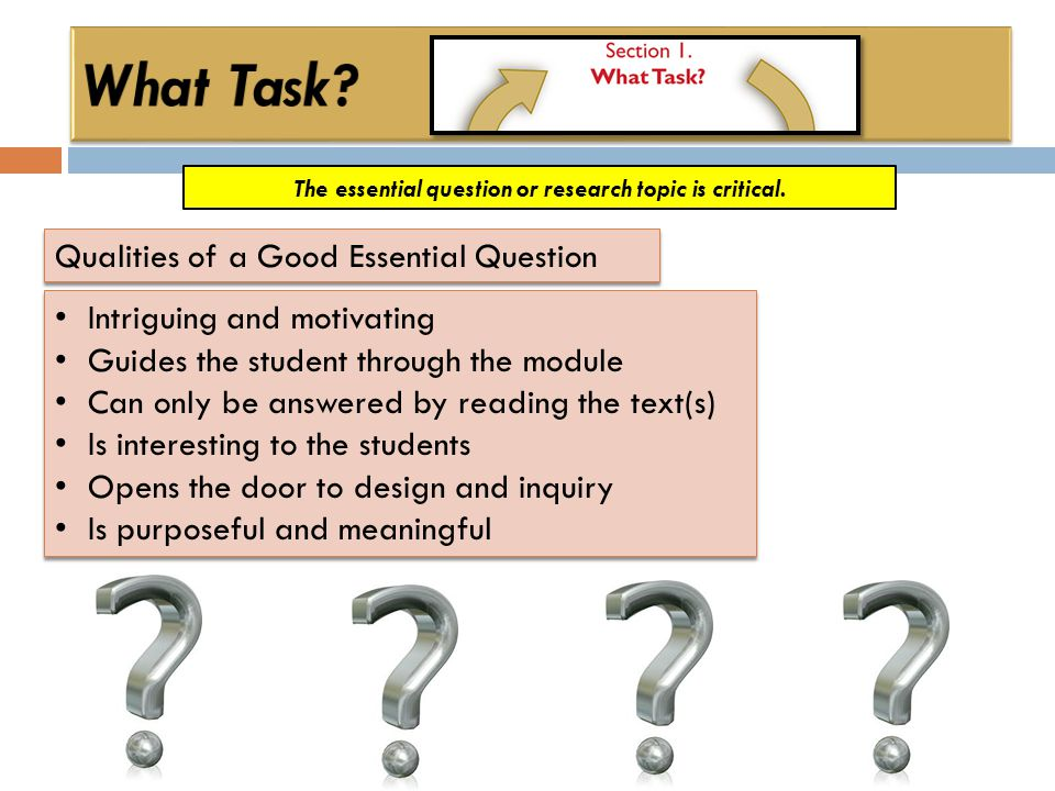 The essential question or research topic is critical. Qualities of a Good Essential Question Intriguing and motivating Guides the student through the