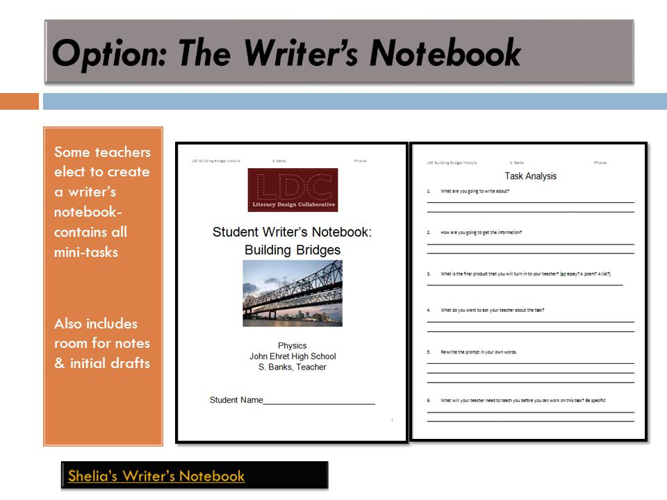 Some teachers elect to create a writer's notebook- contains all mini-tasks Also includes room for notes & initial drafts