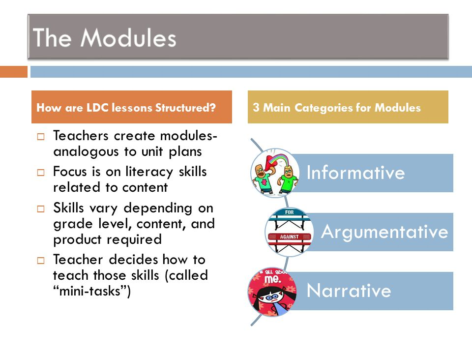  The module is the complete plan consisting of:  The task  The skills  The instruction  The results