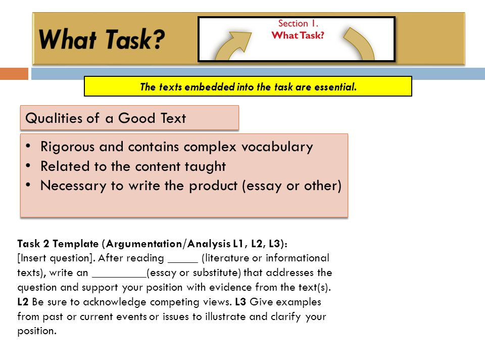 The texts embedded into the task are essential. Qualities of a Good Text Rigorous and contains complex vocabulary Related to the content taught Necess