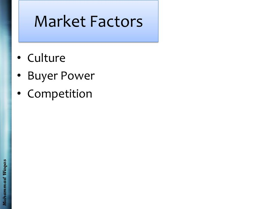Muhammad Waqas Market Factors Culture Buyer Power Competition