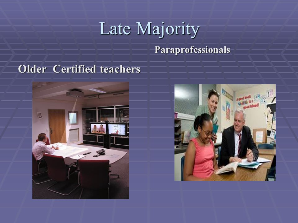 Late Majority Older Certified teachers Paraprofessionals