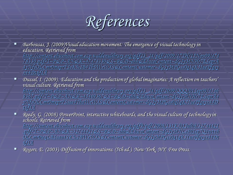 References  Barbousas, J.