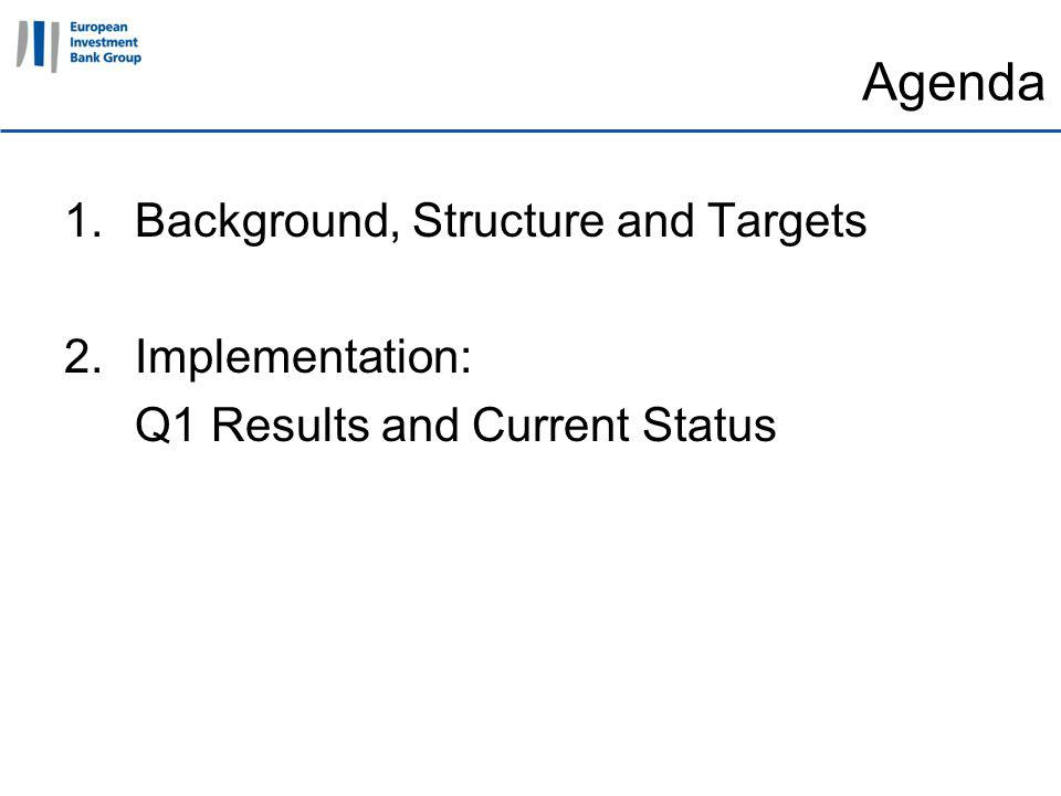 11 April 2011 Agenda 1.Background, Structure and Targets 2.Implementation: Q1 Results and Current Status