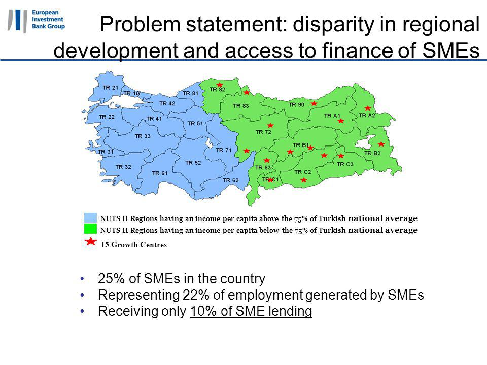 11 April 2011 Problem statement: disparity in regional development and access to finance of SMEs 25% of SMEs in the country Representing 22% of employment generated by SMEs Receiving only 10% of SME lending NUTS II Regions having an income per capita above the 75% of Turkish national average 15 Growth Centres NUTS II Regions having an income per capita below the 75% of Turkish national average