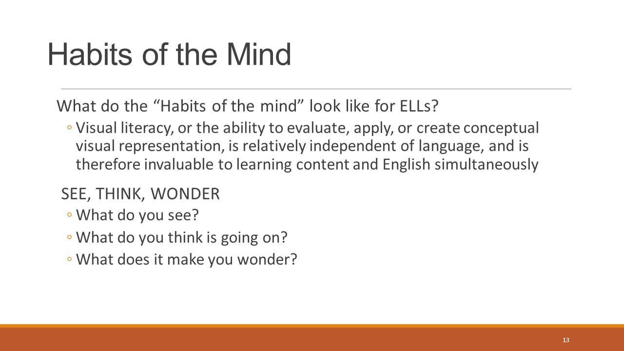 Habits of the Mind What do the Habits of the mind look like for ELLs.