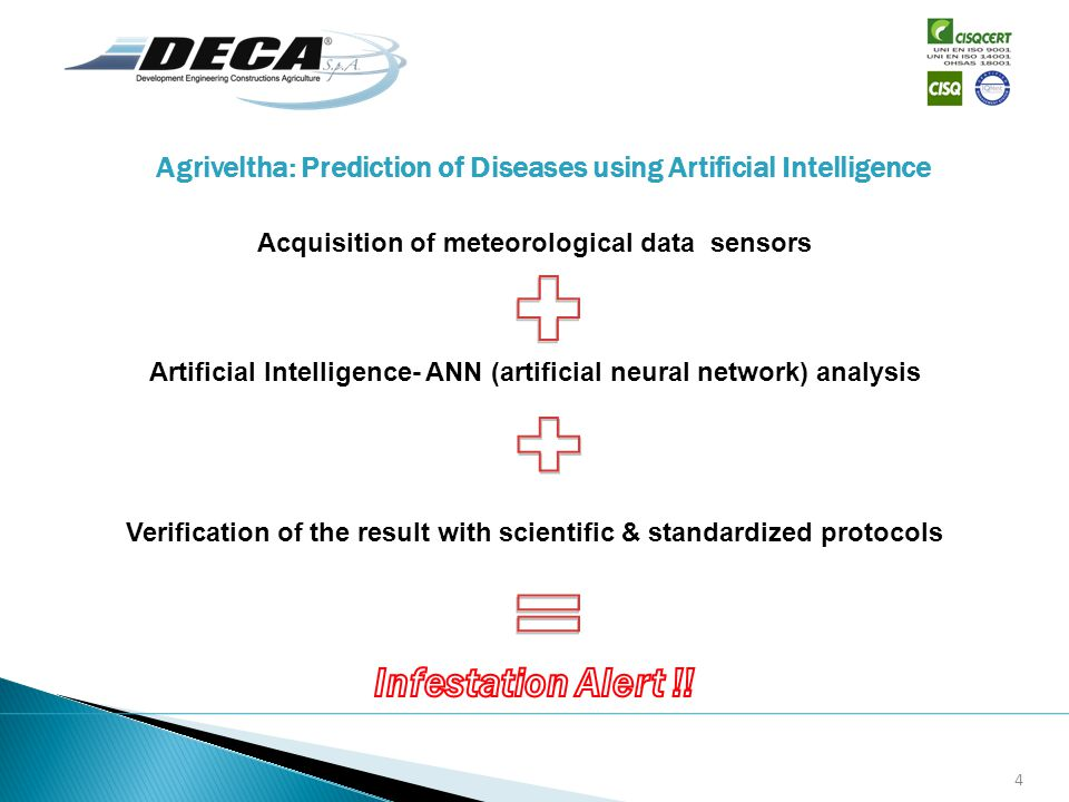 Agriveltha: Prediction of Diseases using Artificial Intelligence Acquisition of meteorological data sensors Artificial Intelligence- ANN (artificial neural network) analysis Verification of the result with scientific & standardized protocols 4