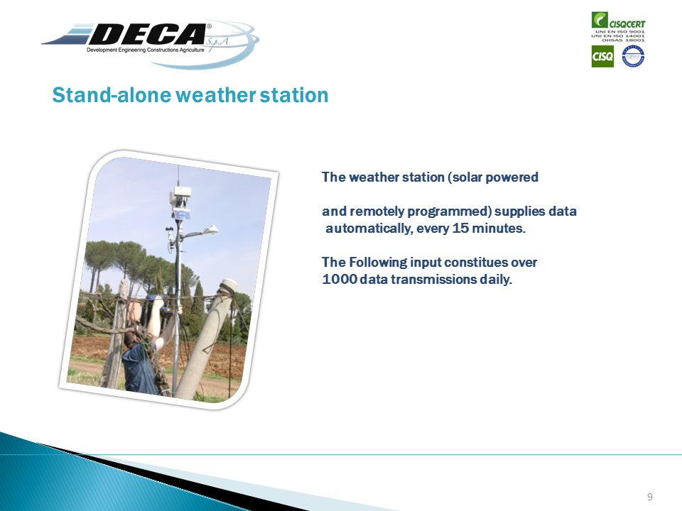 Stand-alone weather station The weather station (solar powered and remotely programmed) supplies data automatically, every 15 minutes. The Following i