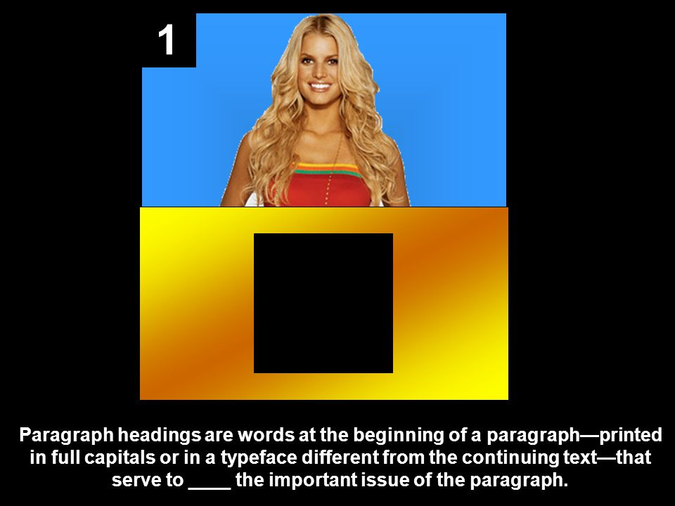 1 Paragraph headings are words at the beginning of a paragraph—printed in full capitals or in a typeface different from the continuing text—that serve to ____ the important issue of the paragraph.