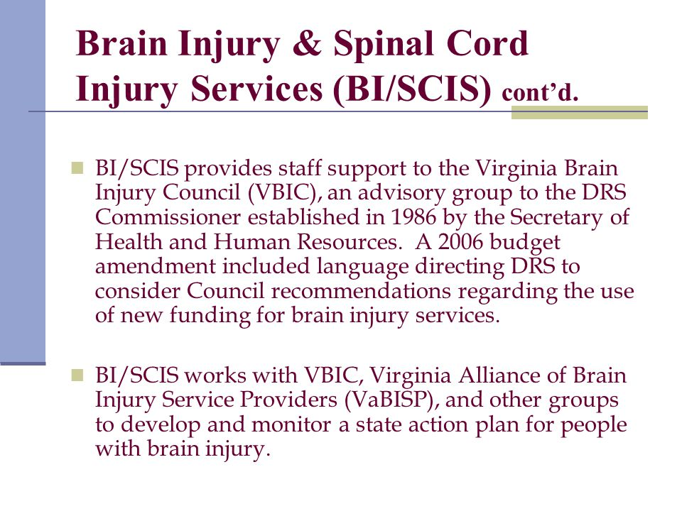 Brain Injury & Spinal Cord Injury Services (BI/SCIS) cont'd.