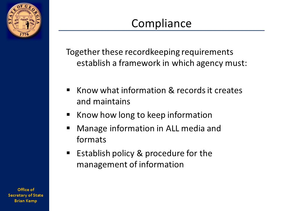 Office of Secretary of State Brian Kemp The basics....
