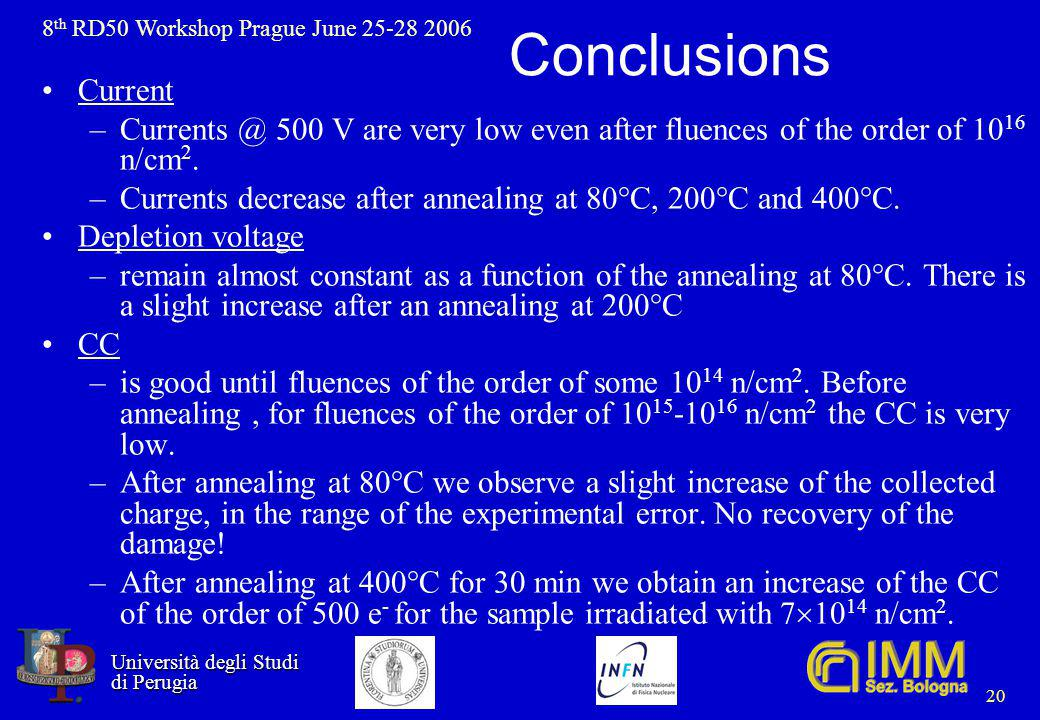 8 th RD50 Workshop Prague June 25-28 2006 Università degli Studi Università degli Studi di Perugia di Perugia 20 Conclusions Current –Currents @ 500 V are very low even after fluences of the order of 10 16 n/cm 2.