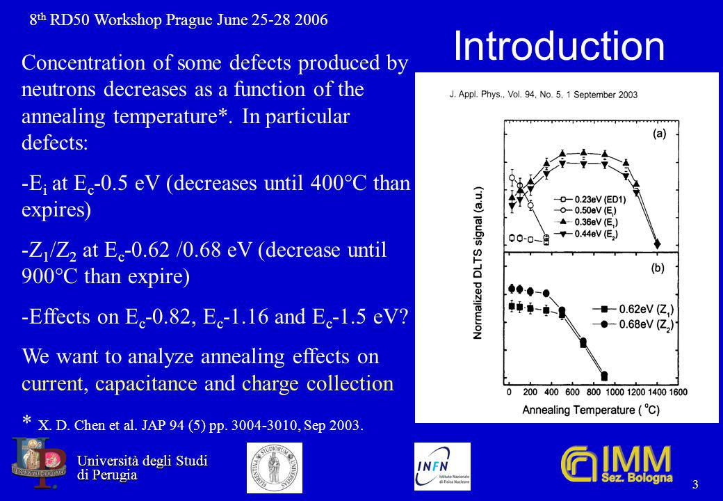 8 th RD50 Workshop Prague June 25-28 2006 Università degli Studi Università degli Studi di Perugia di Perugia 3 Introduction Concentration of some defects produced by neutrons decreases as a function of the annealing temperature*.