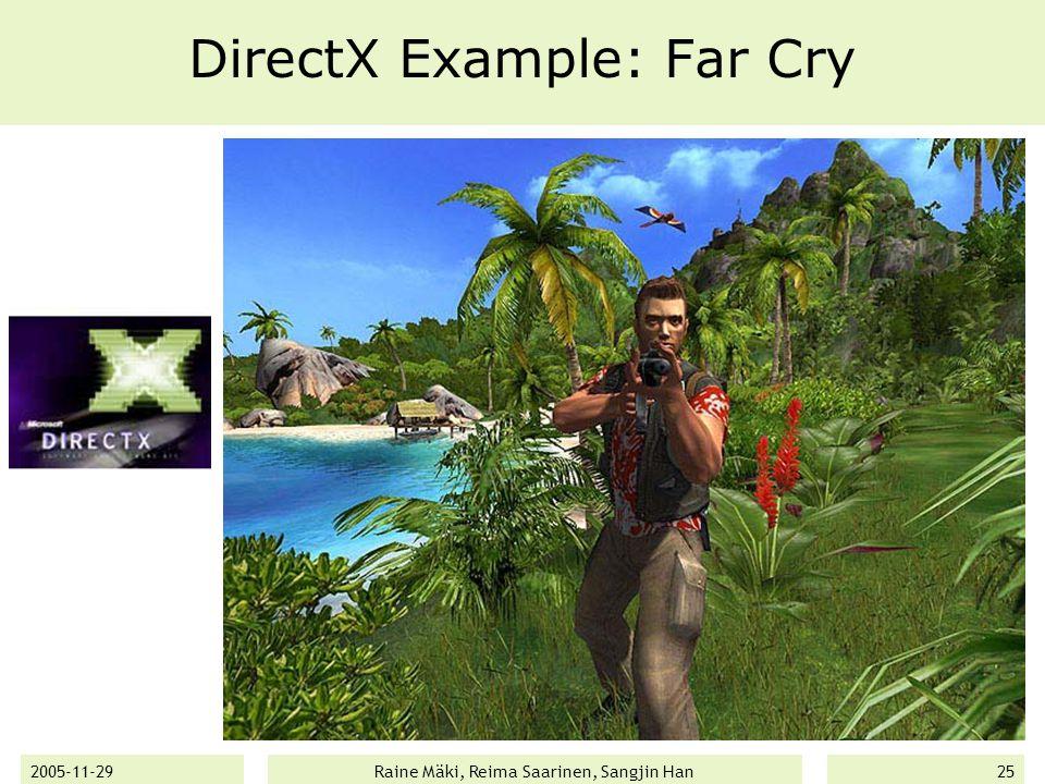 2005-11-29Raine Mäki, Reima Saarinen, Sangjin Han25 DirectX Example: Far Cry