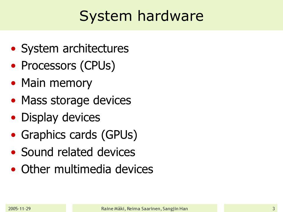 2005-11-29Raine Mäki, Reima Saarinen, Sangjin Han14 Operating systems (cont'd) Linux  A lot of different distributions (distros) available Mandrake/Mandriva, Suse, Fedora, Debian, Red Hat, Xandros, Slackware, Ubuntu, etc..