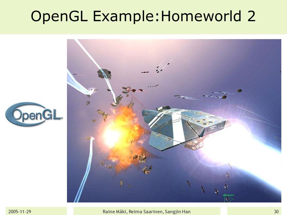 2005-11-29Raine Mäki, Reima Saarinen, Sangjin Han30 OpenGL Example:Homeworld 2