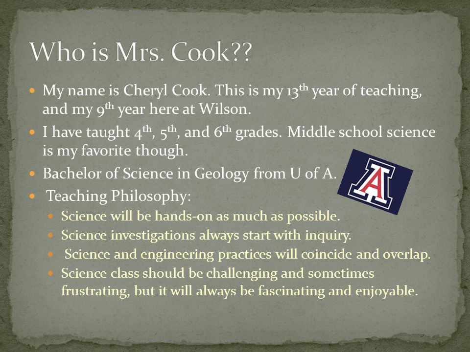My name is Cheryl Cook. This is my 13 th year of teaching, and my 9 th year here at Wilson.