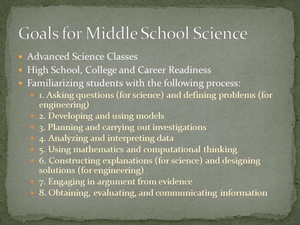 Advanced Science Classes High School, College and Career Readiness Familiarizing students with the following process: 1.