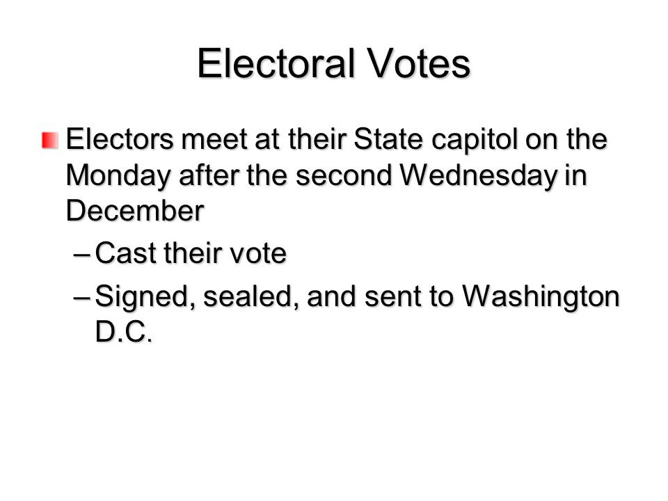 Electoral Votes Electors meet at their State capitol on the Monday after the second Wednesday in December –Cast their vote –Signed, sealed, and sent t