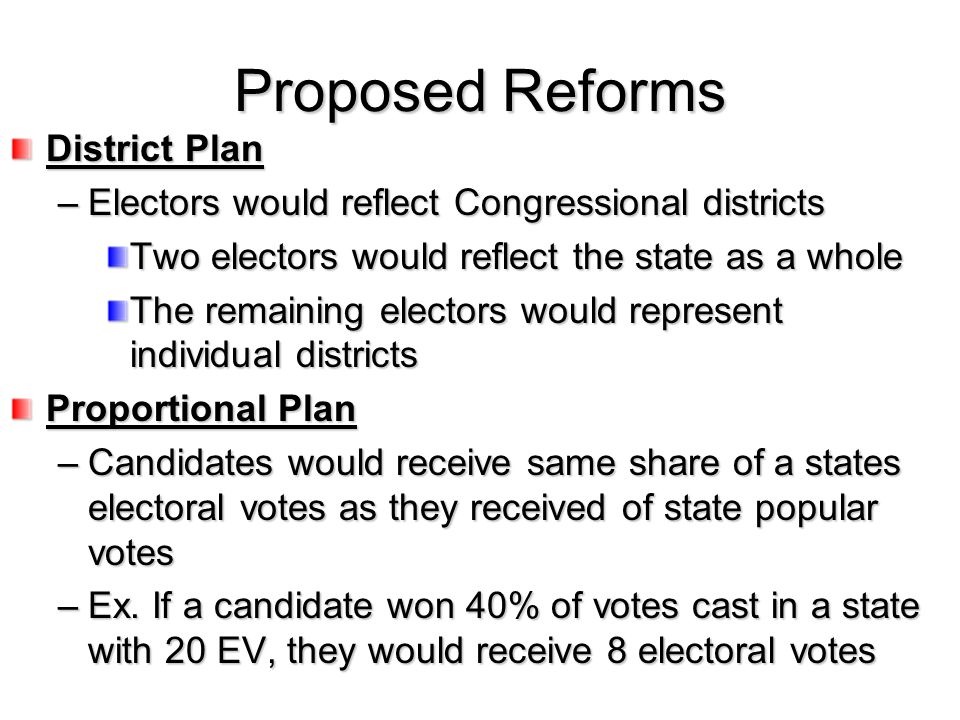 Proposed Reforms District Plan –Electors would reflect Congressional districts Two electors would reflect the state as a whole The remaining electors