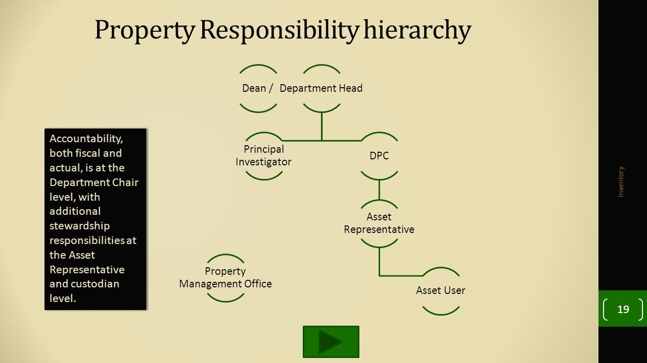 Property Responsibility hierarchy Inventory 19 Accountability, both fiscal and actual, is at the Department Chair level, with additional stewardship responsibilities at the Asset Representative and custodian level.