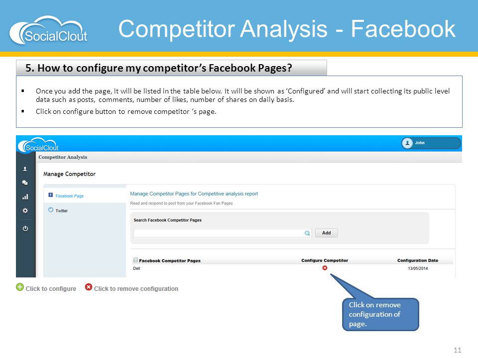 Competitor Analysis - Facebook 5. How to configure my competitor's Facebook Pages? 11  Once you add the page, it will be listed in the table below. I