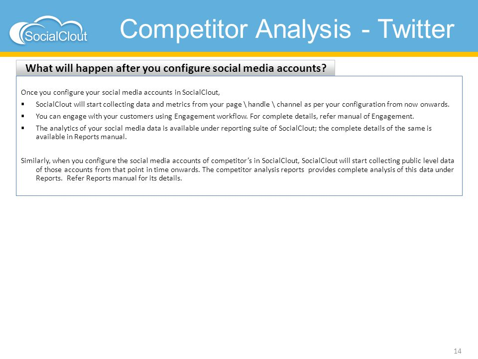 Competitor Analysis - Twitter What will happen after you configure social media accounts? 14 Once you configure your social media accounts in SocialCl