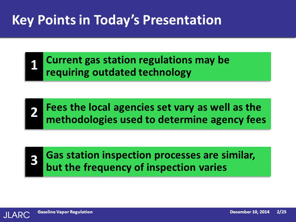 Key Points in Today's Presentation December 10, 2014Gasoline Vapor Regulation2/25 Fees the local agencies set vary as well as the methodologies used to determine agency fees Gas station inspection processes are similar, but the frequency of inspection varies Current gas station regulations may be requiring outdated technology 2 2 3 3 1 1
