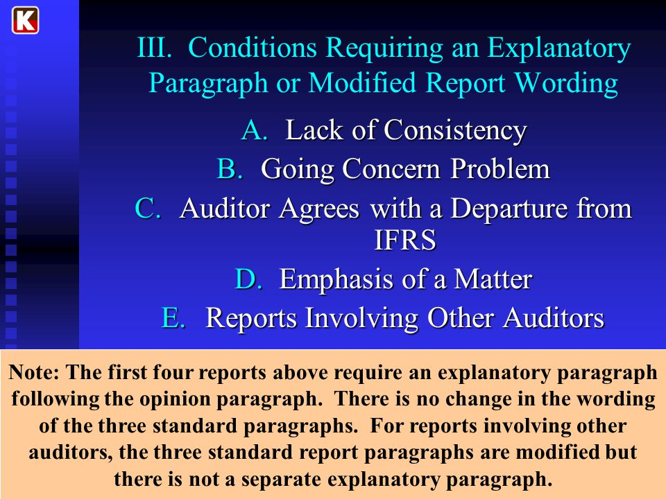 III. Conditions Requiring an Explanatory Paragraph or Modified Report Wording A.Lack of Consistency B.Going Concern Problem C.Auditor Agrees with a De