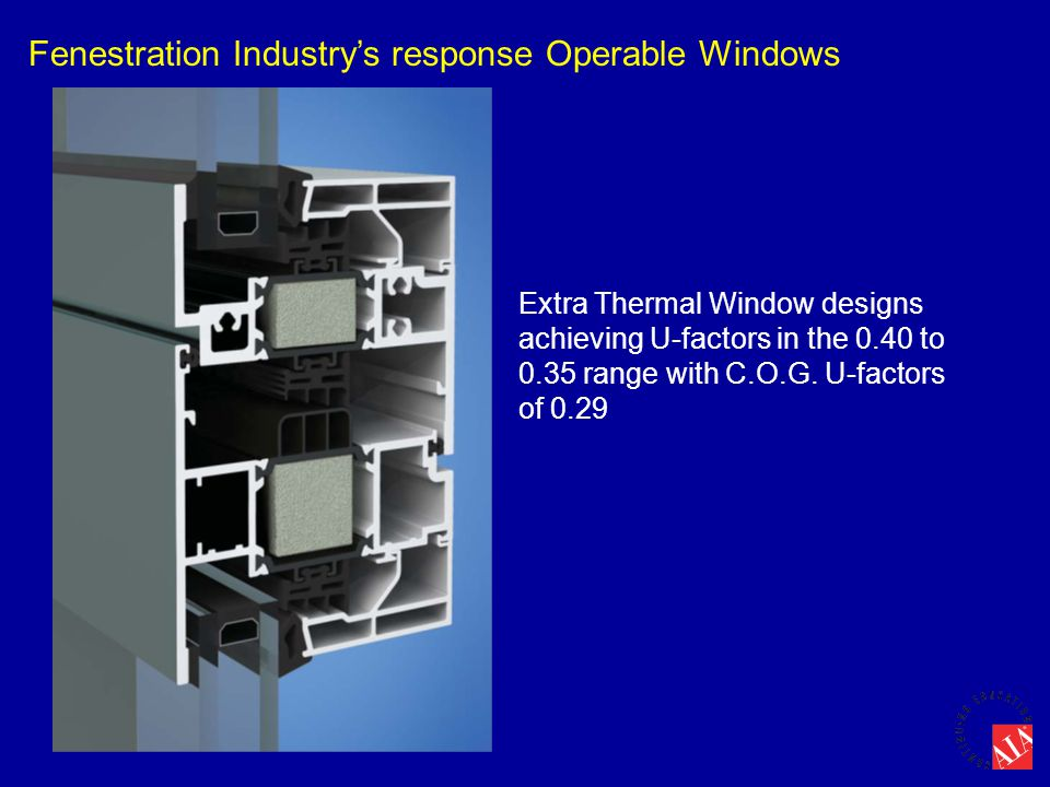 Fenestration Industry's response Operable Windows Extra Thermal Window designs achieving U-factors in the 0.40 to 0.35 range with C.O.G. U-factors of