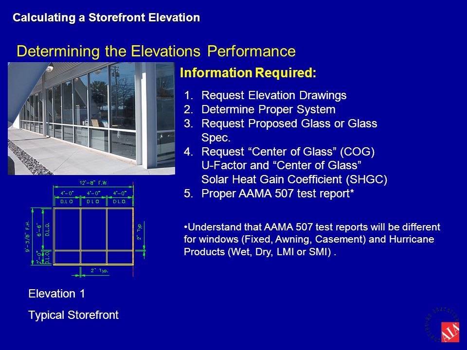 Determining the Elevations Performance Calculating a Storefront Elevation Elevation 1 Typical Storefront Information Required: 1.Request Elevation Dra