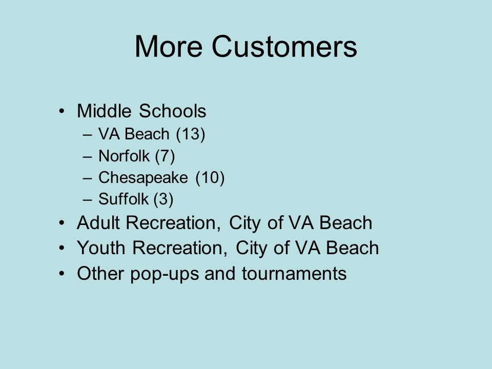 More Customers Middle Schools –VA Beach (13) –Norfolk (7) –Chesapeake (10) –Suffolk (3) Adult Recreation, City of VA Beach Youth Recreation, City of VA Beach Other pop-ups and tournaments