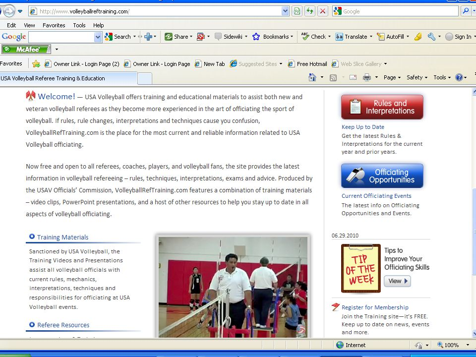 www.volleyball.teamusa.org Web site for USA Volleyball Contains information and schedules for all USA Volleyball categories Officiating page has other