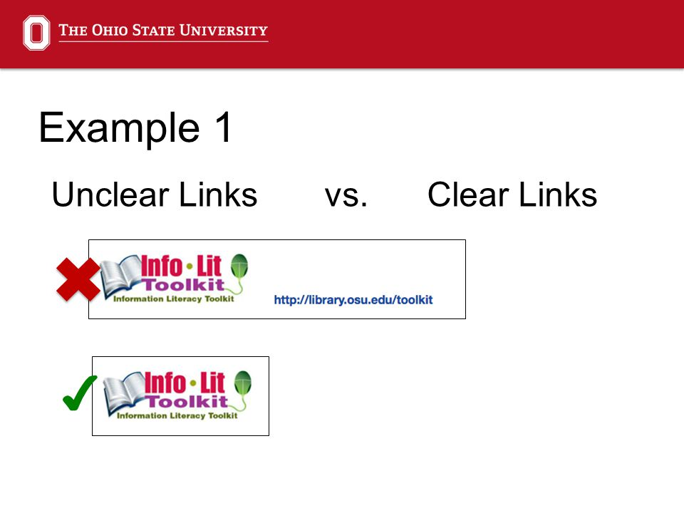 Unclear Linksvs.Clear Links ✔ Example 1