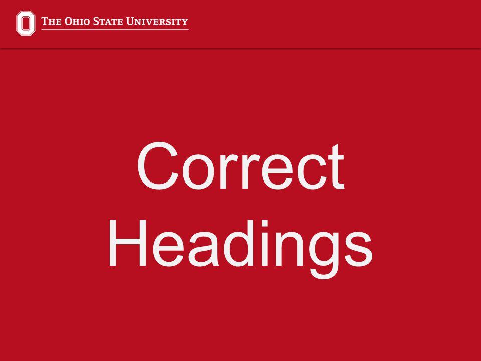 Incorrect vs. Correct Headings