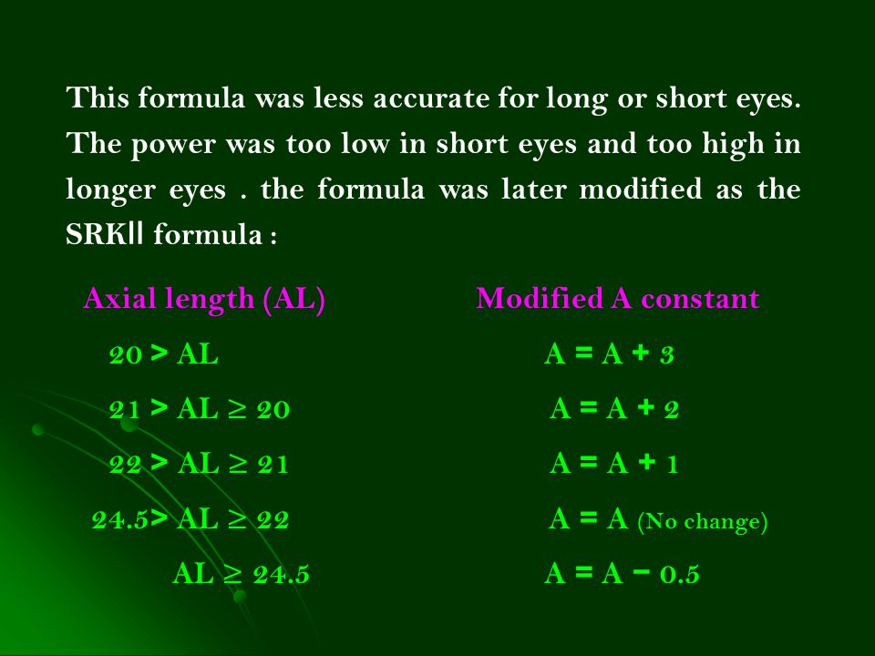 This formula was less accurate for long or short eyes. The power was too low in short eyes and too high in longer eyes. the formula was later modified