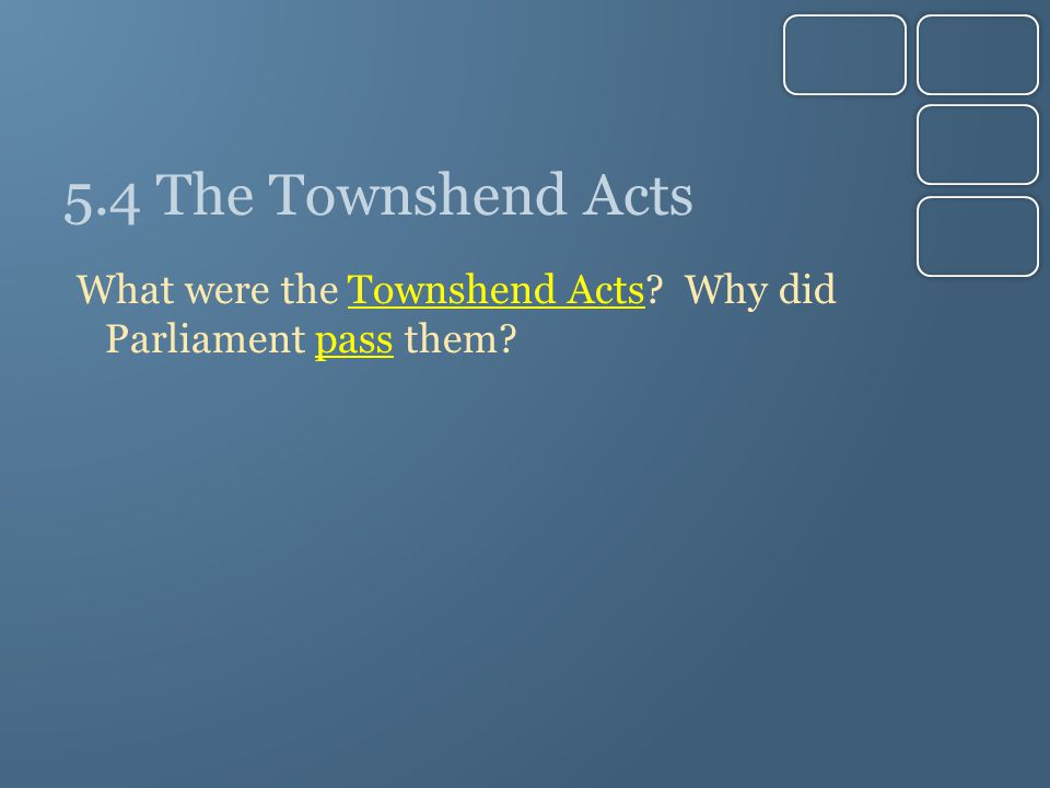 5.4 The Townshend Acts What were the Townshend Acts? Why did Parliament pass them?