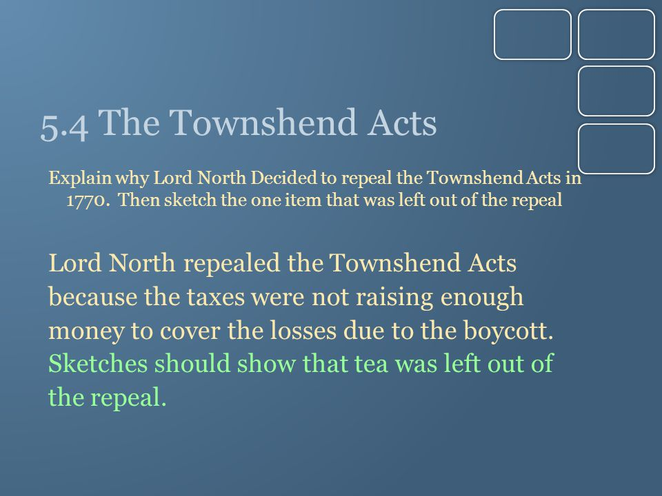 5.4 The Townshend Acts Explain why Lord North Decided to repeal the Townshend Acts in 1770. Then sketch the one item that was left out of the repeal L