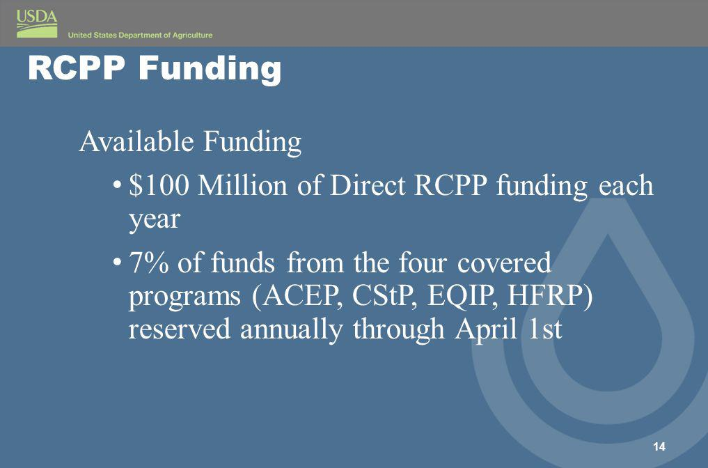 Available Funding $100 Million of Direct RCPP funding each year 7% of funds from the four covered programs (ACEP, CStP, EQIP, HFRP) reserved annually through April 1st 14 RCPP Funding