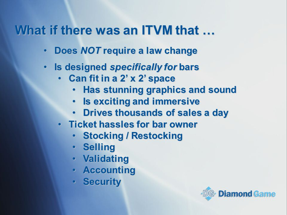 What if there was an ITVM that … Does NOT require a law changeDoes NOT require a law change Is designed specifically for barsIs designed specifically