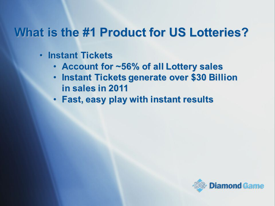 What is the #1 Product for US Lotteries? Instant TicketsInstant Tickets Account for ~56% of all Lottery salesAccount for ~56% of all Lottery sales Ins