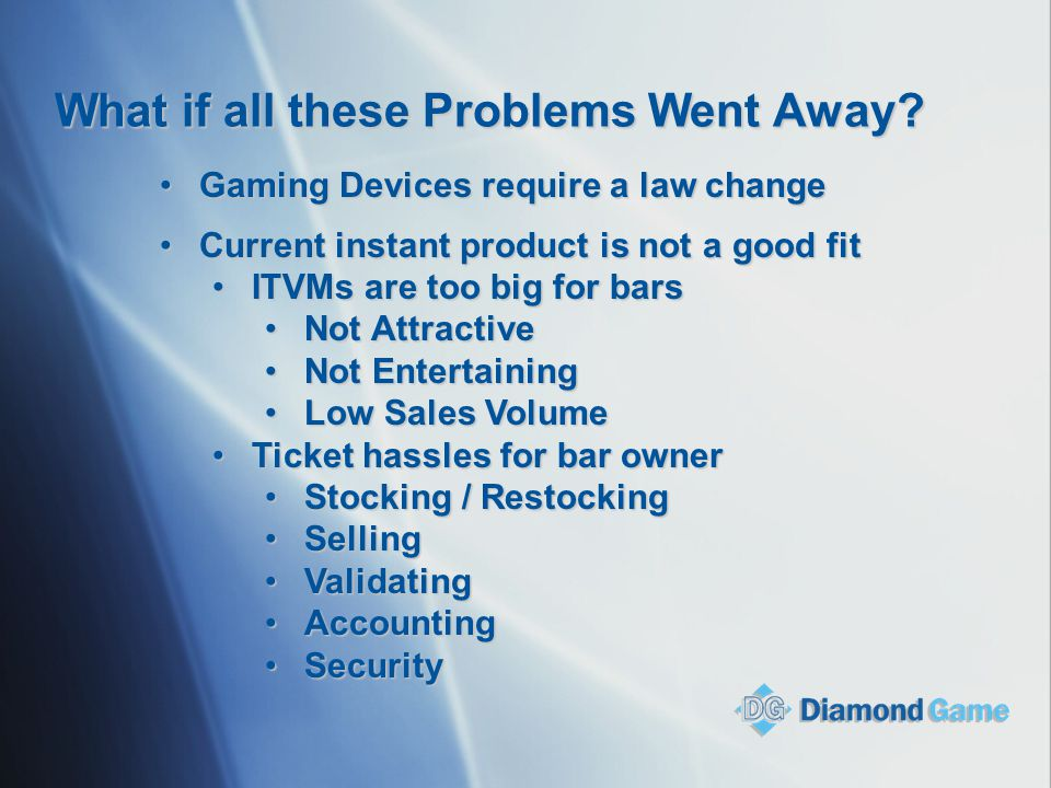 What if all these Problems Went Away? Gaming Devices require a law changeGaming Devices require a law change Current instant product is not a good fit