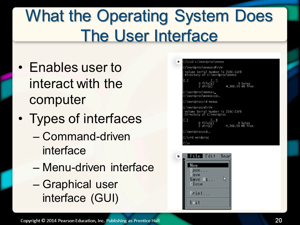 What the Operating System Does The User Interface Enables user to interact with the computer Types of interfaces –Command-driven interface –Menu-driven interface –Graphical user interface (GUI) Copyright © 2014 Pearson Education, Inc.
