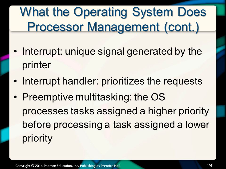 What the Operating System Does Processor Management (cont.) Interrupt: unique signal generated by the printer Interrupt handler: prioritizes the reque